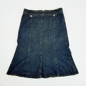 Vintage Skirts - USA Made Skirt Denim Jean Blue Peplum Ruffle
